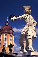 castle, Moritzburg, Dresden, Germany, Saxony, Sachen, Europe, Statue of hunter and dog on the grounds of Jagdschloss Moritzburg built in 1730
