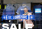The city of Perth shows it's support for St Johnstone ahead of Saturdays Scottish Cup Final against Hibs at Hampden... 21.05.21<br />Kelly Brown manager of Manifesto in Perth showing her support ahead of saturday's Scottish Cup Final against Hibs.<br />Picture by Graeme Hart.<br />Copyright Perthshire Picture Agency<br />Tel: 01738 623350  Mobile: 07990 594431