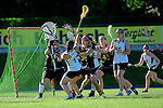 BERLIN, GERMANY - JUNE 22: Semifinal between Team Germany (black) vs LCC Radotin (white) during the Berlin Open Lacrosse Tournament 2013 at Stadion Lichterfelde on June 22, 2013 in Berlin, Germany. Final score 9-8. (Photo by Dirk Markgraf/www.265-images.com) *** Local caption *** #1 Sabine Paul of Germany, #38 Jacklyn Au of Germany