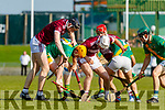 Evan Murphy and Tommy Barrett, Causeway in action against Robert Collins, Kilmoyley during the Kerry County Senior Hurling Championship Final match between Kilmoyley and Causeway at Austin Stack Park in Tralee