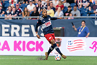 FOXBOROUGH, MA - AUGUST 18: Teal Bunbury #10 of New England Revolution collects a pass during a game between D.C. United and New England Revolution at Gillette Stadium on August 18, 2021 in Foxborough, Massachusetts.