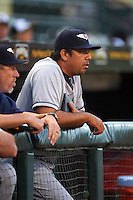 Lakeland Flying Tigers pitching coach Jorge Cordova (40) during a game against the Bradenton Marauders on April 16, 2016 at McKechnie Field in Bradenton, Florida.  Lakeland defeated Bradenton 7-4.  (Mike Janes/Four Seam Images)