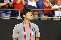 CHARLOTTE, NC - OCTOBER 3: Head coach Hwang Insun of Korea Republic during a game between Korea Republic and USWNT at Bank of America Stadium on October 3, 2019 in Charlotte, North Carolina.
