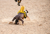 Pareci warriors demonstrate  Xikunahity, their traditional sport, during which they can only touch the ball with their heads, during the International Indigenous Games, in the city of Palmas, Tocantins State, Brazil. Photo © Sue Cunningham, pictures@scphotographic.com 26th October 2015