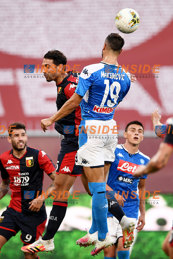 Edoardo Goldaniga of Genoa and Nikola Maksimovic of SSC Napoli compete for the ball during the Serie A football match between Genoa CFC and SSC Napoli stadio Marassi in Genova ( Italy ), July 08th, 2020. Play resumes behind closed doors following the outbreak of the coronavirus disease. <br /> Photo Matteo Gribaudi / Image / Insidefoto
