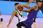 League ACB-ENDESA 2020/2021.Game 15.<br /> FC Barcelona vs Club Joventut Badalona: 88-74.<br /> Albert Ventura vs Adam Hanga.