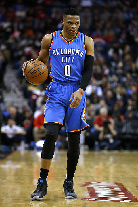 Oklahoma City Thunder guard Russell Westbrook (0) drives with the ball during the second half of an NBA basketball game against the New Orleans Pelicans Thursday, Feb. 25, 2016, in New Orleans. The Pelicans won 123-119. (AP Photo/Jonathan Bachman)