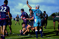 Action from the Auckland  1st XV rugby match between Onehunga High School and Maclean's College at Onehunga HS in Auckland, New Zealand on Saturday, 19 June 2021. Photo: Dave Lintott / lintottphoto.co.nz