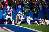 Buffalo Bills quarterback Josh Allen (17) dives in for a touchdown during an NFL football game against the New York Jets, Sunday, December 9, 2018, in Orchard Park, N.Y.  (Mike Janes Photography)