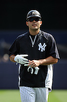 New York Yankees DH Jesus Montero #63 during a game against the Baltimore Orioles at Yankee Stadium on September 5, 2011 in Bronx, NY.  Yankees defeated Orioles 11-10.  Tomasso DeRosa/Four Seam Images
