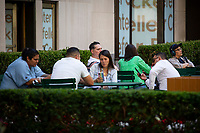 NEW YORK , NY JUNE 16: People visit the Rockefeller center with out face covering next day as the city mark the end of the COVID-19 restrictions in  New York on June 17 2021. <br /> (Photo by Kena Betancur/VIEWpress)