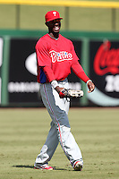 Philadelphia Phillies outfielder Dominic Brown during an Instructional League game against the Detroit Tigers at Brighthouse Field on October 5, 2011 in Clearwater, Florida.  (Mike Janes/Four Seam Images)