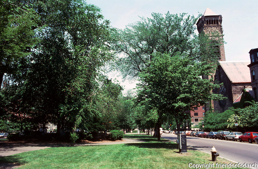 Boston:  Commonwealth Ave., looking east to Richardson's Brattle Square Church, right, and monument to a Mayor Partick Andrew Collins, hidden, left.  Photo  '91.