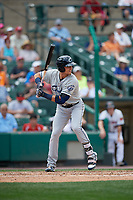 Columbus Clippers left fielder Richie Shaffer (8) bats during a game against the Rochester Red Wings on August 9, 2017 at Frontier Field in Rochester, New York.  Rochester defeated Columbus 12-3.  (Mike Janes/Four Seam Images)