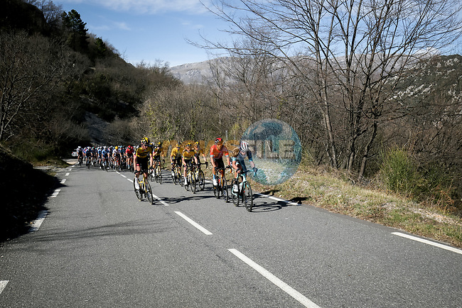 The peloton during Stage 6 of Paris-Nice 2021, running 202.5km from Brignoles to Biot, France. 12th March 2021.<br /> Picture: ASO/Fabien Boukla | Cyclefile<br /> <br /> All photos usage must carry mandatory copyright credit (© Cyclefile | ASO/Fabien Boukla)