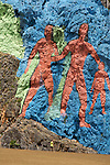 The Mural de la Prehistoria is a brightly colored painted side of a mogote. The paintings have been made by Leovigildo Gonzales. They depict the evoution from amonites to homo sapiens. Vinales