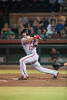 Salt River Rafters third baseman Jake Noll (17), of the Washington Nationals organization, follows through on his swing during an Arizona Fall League game against the Scottsdale Scorpions at Scottsdale Stadium on October 12, 2018 in Scottsdale, Arizona. Scottsdale defeated Salt River 6-2. (Zachary Lucy/Four Seam Images)