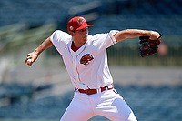 Florida Fire Frogs relief pitcher Brandon S. White (32) during a Florida State League game against the Jupiter Hammerheads on April 11, 2019 at Osceola County Stadium in Kissimmee, Florida.  Jupiter defeated Florida 2-0.  (Mike Janes/Four Seam Images)