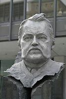 March 16, 2003, Montreal, Quebec, Canada.<br /> <br /> statue of Joseph Xavier Perrault (1838-1905) Founder Montreal Board of Trade (Chambre de Commerce de Montréal), sponsored by ALCAN Canada Ltee.<br /> <br /> Mandatory Credit: Photo by Pierre Roussel- Images Distribution. (©) Copyright 2004 by Pierre Roussel
