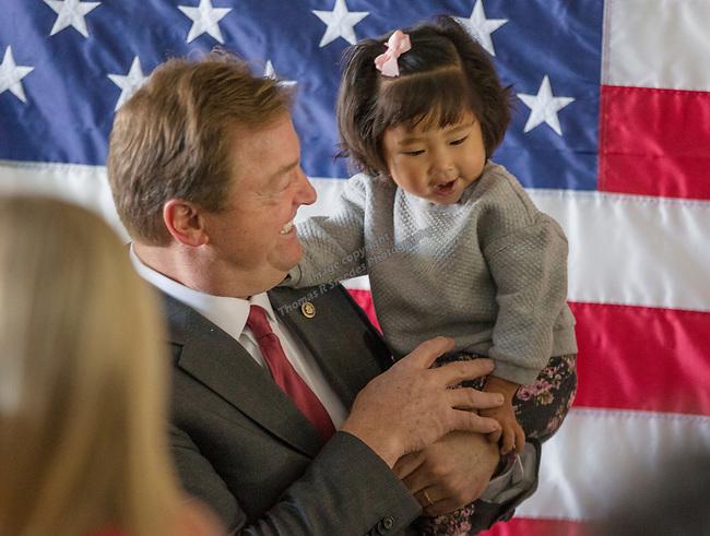Senator Dean Heller and his granddaughter at the RNC field office in Reno, Thursday, Nov. 1, 2018.