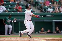 First baseman Dom D'Alessandro (17) of the Greenville Drive in a game against the Greensboro Grasshoppers on Thursday, July 22, 2021, at Fluor Field at the West End in Greenville, South Carolina. (Tom Priddy/Four Seam Images)
