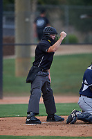 Home plate umpire Chris Jenke calls a strike on a batter during an Arizona League game between the AZL Padres 2 and AZL White Sox on June 29, 2019 at Camelback Ranch in Glendale, Arizona. The AZL Padres 2 defeated the AZL White Sox 7-3. (Zachary Lucy/Four Seam Images)