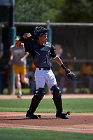 AZL White Sox catcher Victor Torres (77) throws to the pitcher during an Arizona League game against the AZL Athletics Gold on July 4, 2019 at Camelback Ranch in Glendale, Arizona. The AZL White Sox defeated the AZL Athletics Gold 6-2. (Zachary Lucy/Four Seam Images)