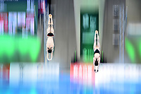 Russia's Nikita Shleikher and Luliia Timoshinina compete in the mixed 10m Synchro Platform<br /> <br /> Photographer Hannah Fountain/CameraSport<br /> <br /> FINA/CNSG Diving World Series 2019 - Day 2 - Saturday 18th May 2019 - London Aquatics Centre - Queen Elizabeth Olympic Park - London<br /> <br /> World Copyright © 2019 CameraSport. All rights reserved. 43 Linden Ave. Countesthorpe. Leicester. England. LE8 5PG - Tel: +44 (0) 116 277 4147 - admin@camerasport.com - www.camerasport.com