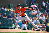 Norfolk Tides pitcher Michael Bowden (25) delivers a pitch during a game against the Rochester Red Wings on May 3, 2015 at Frontier Field in Rochester, New York.  Rochester defeated Norfolk 7-3.  (Mike Janes/Four Seam Images)