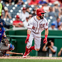 1 August 2018: Washington Nationals outfielder Adam Eaton at bat in the second inning against the New York Mets at Nationals Park in Washington, DC. The Nationals defeated the Mets 5-3 to sweep the 2-game weekday series. Mandatory Credit: Ed Wolfstein Photo *** RAW (NEF) Image File Available ***
