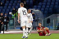 Roma s Edin Dzeko, bottom right, reacts during the Serie A soccer match between Roma and Benevento at Rome's Olympic Stadium, October 18, 2020.<br /> UPDATE IMAGES PRESS/Riccardo De Luca