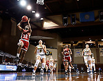 SIOUX FALLS, SD - MARCH 7: Tsimba Malonga #32 of the Denver Pioneers lays the ball up against the North Dakota State Bison during the Summit League Basketball Tournament at the Sanford Pentagon in Sioux Falls, SD. (Photo by Richard Carlson/Inertia)