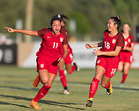 Bradenton, FL - Sunday, June 12, 2018: Maya Doms, Sunshine Fontes during a U-17 Women's Championship Finals match between USA and Mexico at IMG Academy.  USA defeated Mexico 3-2 to win the championship.