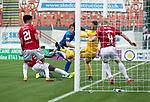 Hamilton Accies v St Johnstone…01.09.18…   New Douglas Park     SPFL<br />David McMillan heads in saints second goal<br />Picture by Graeme Hart. <br />Copyright Perthshire Picture Agency<br />Tel: 01738 623350  Mobile: 07990 594431