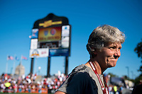 USWNT head coach Pia Sundhage talks to the press after a friendly match at Sahlen's Stadium in Rochester, NY.  The USWNT defeated Costa Rica, 8-0.