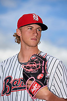 Birmingham Barons pitcher Michael Kopech (30) poses for a photo after a game against the Jacksonville Jumbo Shrimp on April 24, 2017 at Regions Field in Birmingham, Alabama.  Jacksonville defeated Birmingham 4-1.  (Mike Janes/Four Seam Images)