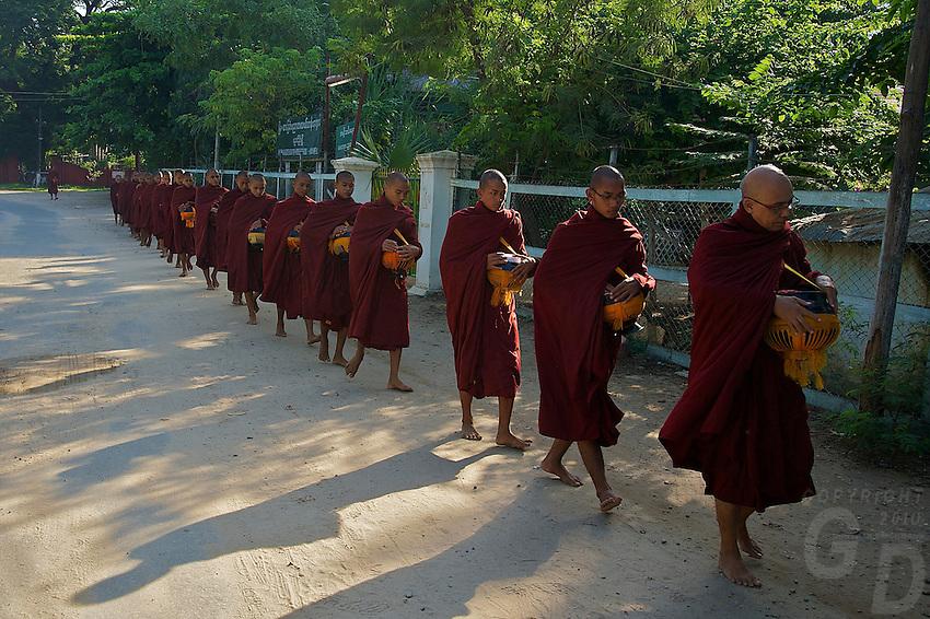 Monks early morning in Bagan Town Myanmar