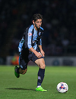 Joe Jacobson of Wycombe Wanderers in action during the Capital One Cup match between Wycombe Wanderers and Fulham at Adams Park, High Wycombe, England on 11 August 2015. Photo by Andy Rowland.