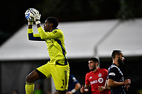 LAKE BUENA VISTA, FL - JULY 26: Sean Johnson of New York City FC cuts off a cross during a game between New York City FC and Toronto FC at ESPN Wide World of Sports on July 26, 2020 in Lake Buena Vista, Florida.