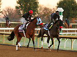 Wildman Jack, trained by trainer Doug F. O'Neill, exercises in preparation for the Breeders' Cup Turf Sprint and Hot Rod Charlie, trained by trainer Doug F. O'Neill, exercises in preparation for the Breeders' Cup Juvenile at Keeneland Racetrack in Lexington, Kentucky on October 31, 2020.