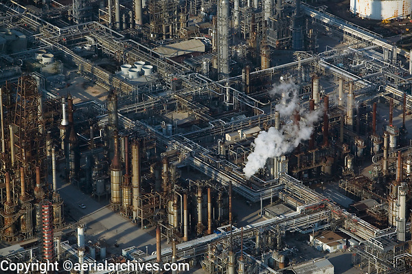 aerial photograph of the Shell Oil, Deer Park refinery along the Houston Ship Channel, Texas