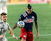 FOXBOROUGH, MA - NOVEMBER 20: Gustavo Bou #7 of New England Revolution attempts to control the ball during the Audi 2020 MLS Cup Playoffs, Eastern Conference Play-In Round game between Montreal Impact and New England Revolution at Gillette Stadium on November 20, 2020 in Foxborough, Massachusetts.