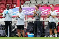 Brentford Manager, Thomas Frank, applauds the NHS and key workers ahead of kick-off as part of the 'Thank You Together' initiative during Brentford vs Wigan Athletic, Sky Bet EFL Championship Football at Griffin Park on 4th July 2020