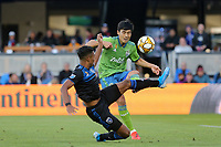 SAN JOSE, CA - SEPTEMBER 29: Danny Hoesen #9 of the San Jose Earthquakes and Kim Kee-hee #20 of the Seattle Sounders FC during a Major League Soccer (MLS) match between the San Jose Earthquakes and the Seattle Sounders on September 29, 2019 at Avaya Stadium in San Jose, California.