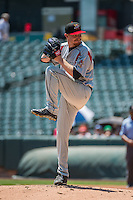 Albuquerque Isotopes starting pitcher Eddie Butler (31) delivers a pitch to the plate against the Salt Lake Bees in Pacific Coast League action at Smith's Ballpark on June 28, 2015 in Salt Lake City, Utah. The Isotopes defeated the Bees 8-3. (Stephen Smith/Four Seam Images)