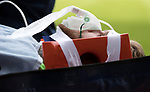St Johnstone v Sunderland…15.07.17… McDiarmid Park… Pre-Season Friendly<br />Zander Clark is stretchered to an ambulance with club Doctor Sarah Gill<br />Picture by Graeme Hart.<br />Copyright Perthshire Picture Agency<br />Tel: 01738 623350  Mobile: 07990 594431