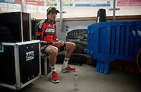 a disappointed Greg Van Avermaet (BEL/BMC) awaits his turn for his post-race press conference (after finishing yet again on the podium, but not on the highest step)<br /> <br /> 113th Paris-Roubaix 2015