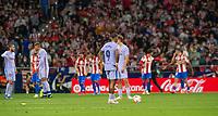 2nd October 2021; Estadio Wanda Metropolitano, Madrid, Spain; La Liga football, Atletico de Madrid versus Futbol Club Barcelona; Menphis Depay after Suarez scores the goal for 2-0 for Atletico de Madrid in minute 44