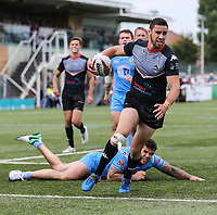 Api Pewhairangi of London Broncos breaks away to score his 2nd try of the game and make the score 40-16 during the Kingstone Press Championship match between London Broncos and Sheffield Eagles at Castle Bar , West Ealing , England  on 9 July 2017. Photo by David Horn.