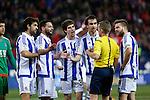 Real Sociedad´s Asier Illarramendi, Elustondo, Xabi Prieto, Hector Hernandez argue with the referee during 2015-16 La Liga match between Atletico de Madrid and Real Sociedad at Vicente Calderon stadium in Madrid, Spain. March 01, 2016. (ALTERPHOTOS/Victor Blanco)